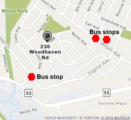 Google maps of Kitchener location  with three bus stops marked down.