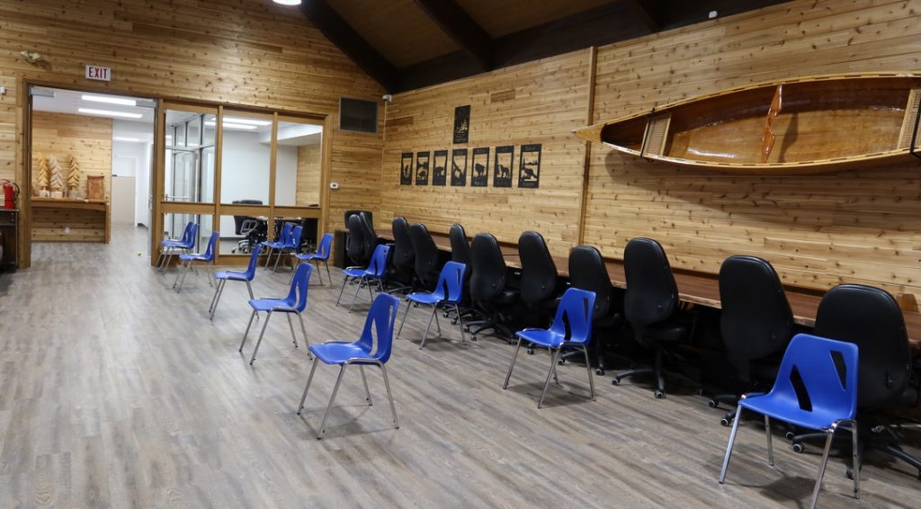Pop-up clinic recovery room with chairs lined up 6 feet apart