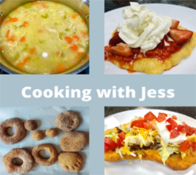 soup, funnel cake, doughnuts, and taco fry bread