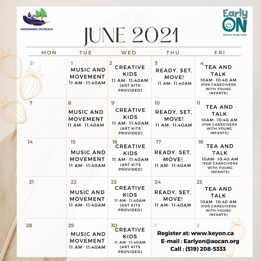 EarlyON Calendar for June that displays each program happening during the month of June