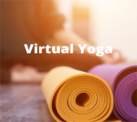 one yellow and purple yoga mat on the ground with the words virtual yoga above it