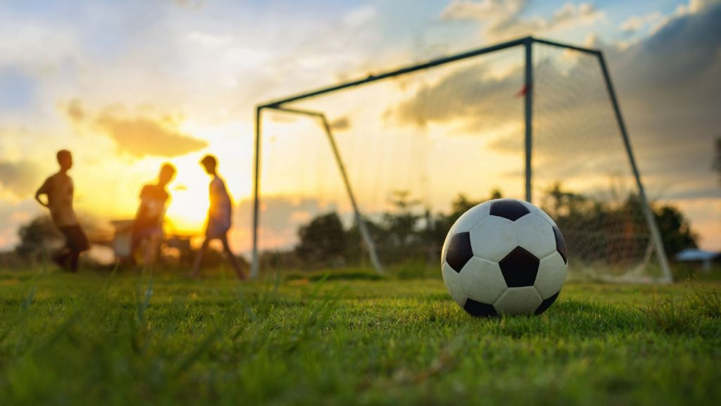soccer ball and soccer net with children